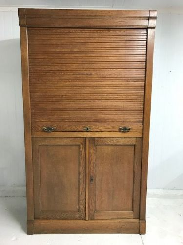 SOLD - Large Vintage Antique French Cabinet / Tambour - tb76